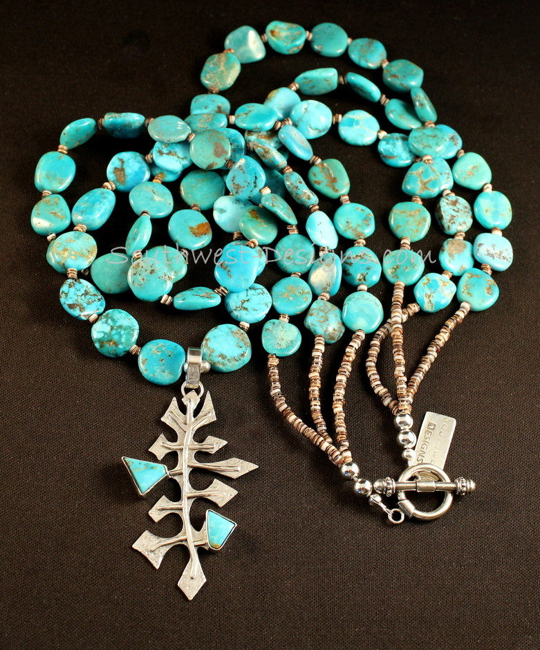 Sterling Silver & Kingman Turquoise Tree Pendant with 3 Strands of Sleeping Beauty Turquoise