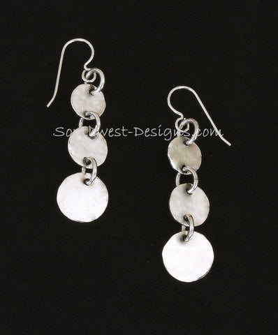 Handcrafted Sterling Silver Triple Circle Earrings with Sterling Silver Rings & Earring Wire