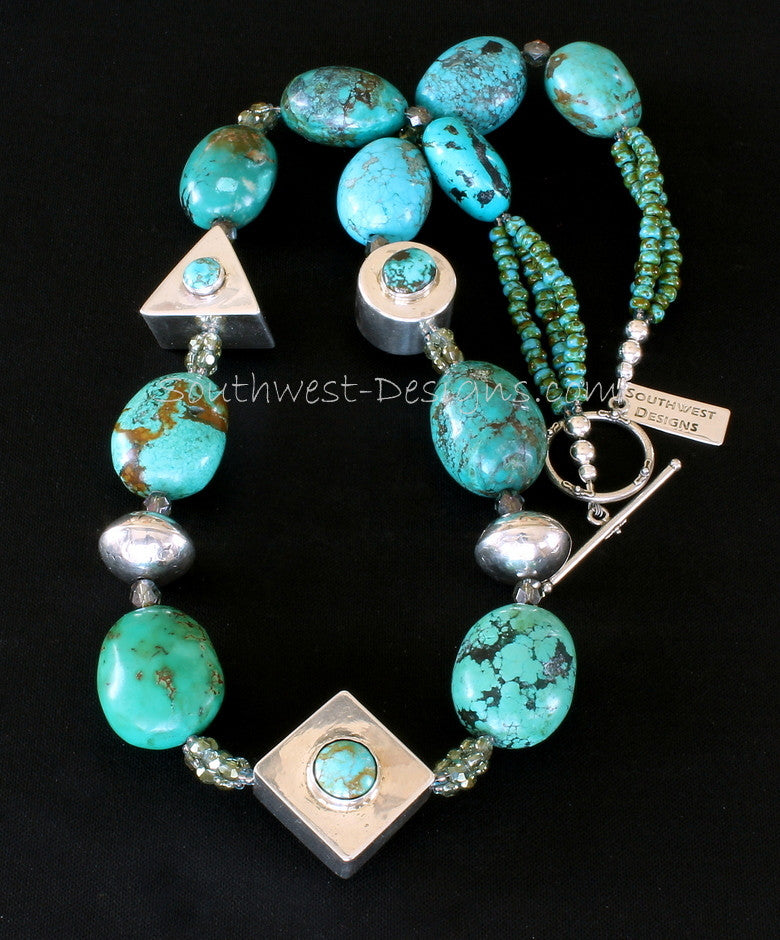 Sterling Silver and Turquoise Box Bead Necklace with Fire Polished and Picasso Turquoise Glass and Jan Mariano Sterling Silver Rondelles