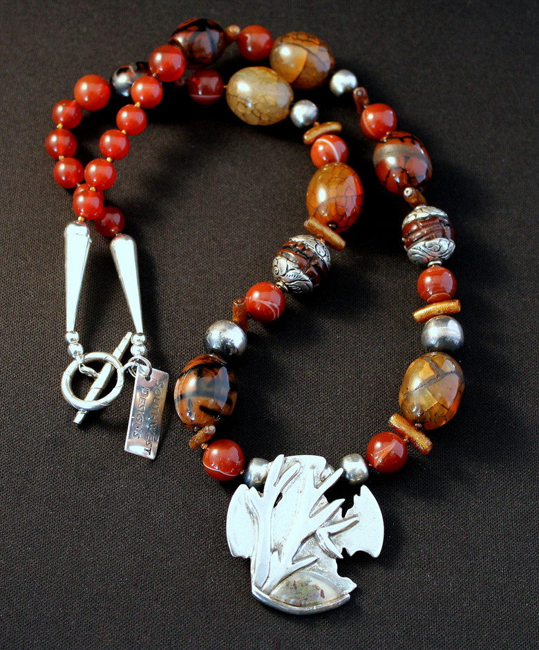 Sterling Silver Tree Branch Pendant with Carnelian Agate Barrel Beads, Carnelian Rounds and Sterling