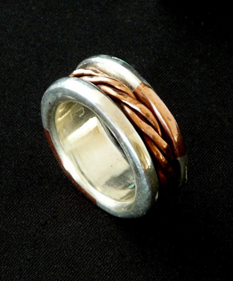Sterling Silver and Copper Channel Ring with Copper Spinner