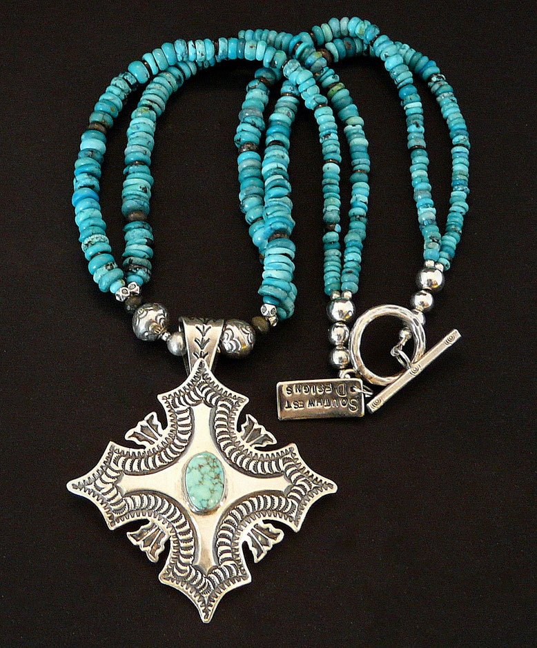 Turquoise Mountain & Stamped Sterling Pendant with 2 Strands of Turquoise Rondelles