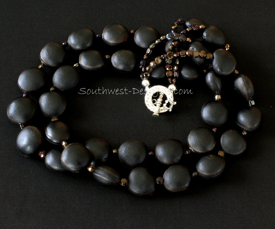 Black Ojo de Buey Seed 2-Strand Necklace with Czechoslovakian Nailheads and Sterling Silver