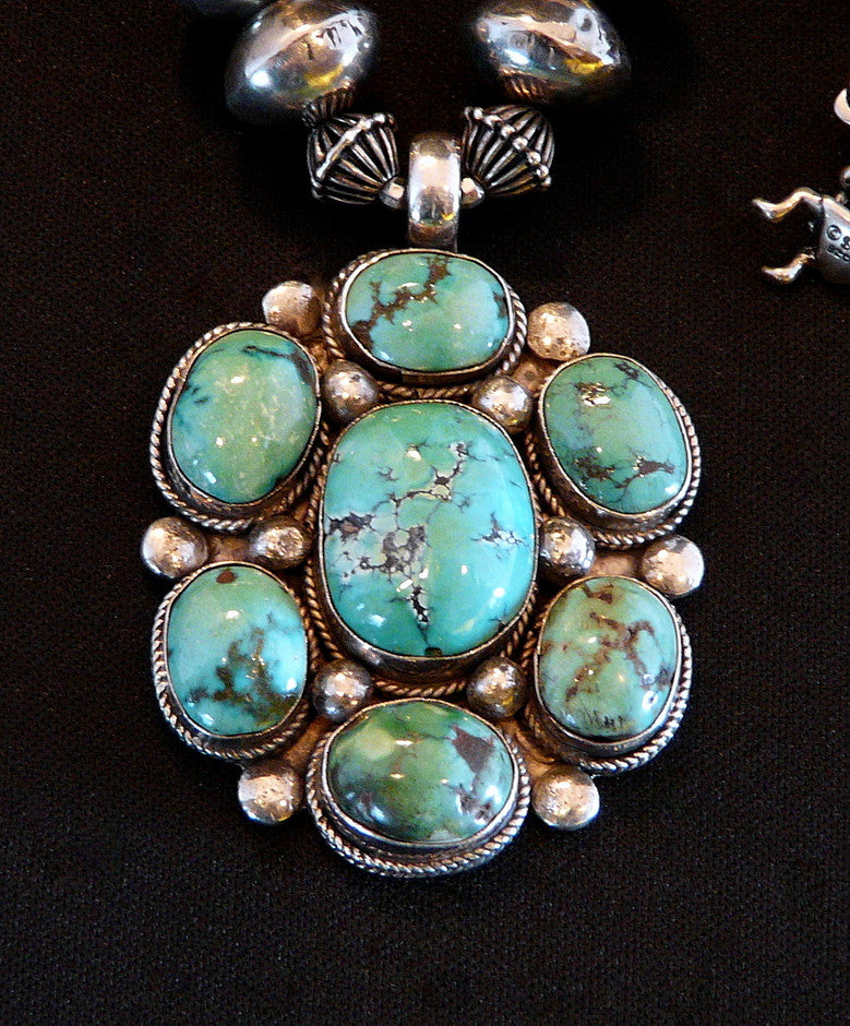 Tibetan Turquoise & Sterling Silver Pendant with Turquoise Nuggets, Coin Silver & Sterling