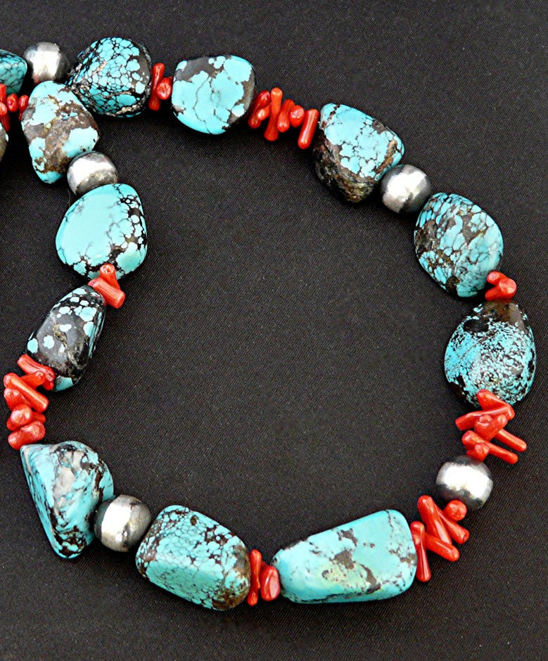 Tibetan Turquoise Large Nugget Necklace with Branch Coral and Oxidized Sterling Silver Rounds