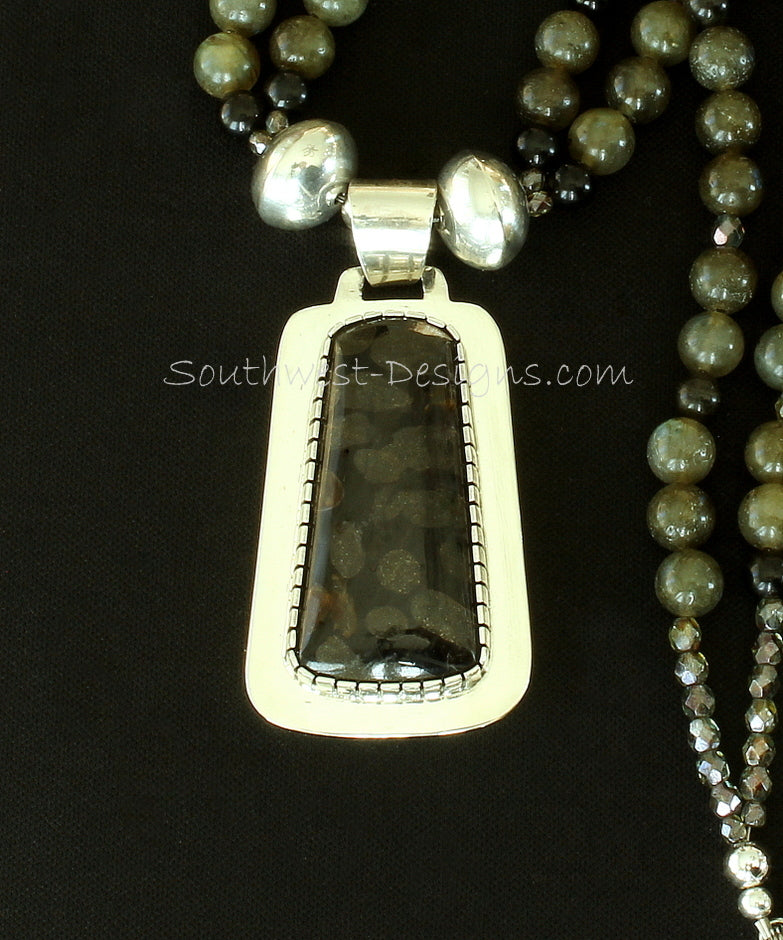 Toredo Petrified Wood & Sterling Silver Pendant with 2 Strands of Labradorite, Obsidian and Sterling Silver