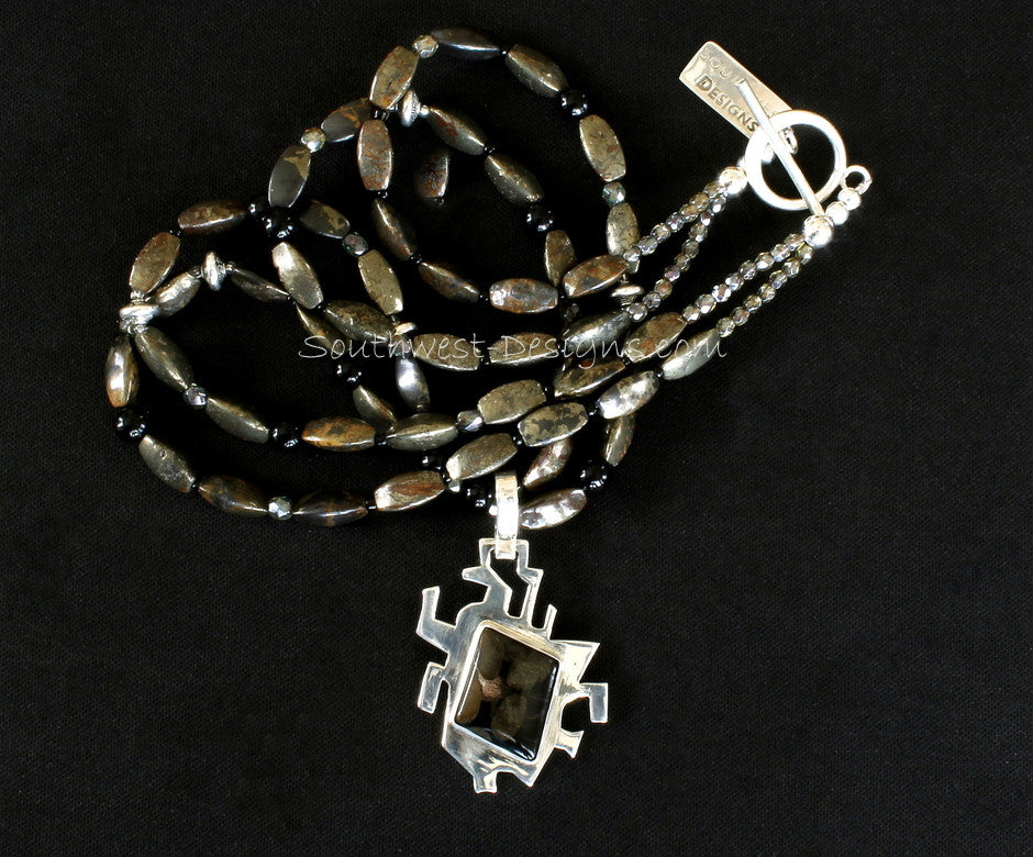 Toredo Fossil Wood and Sterling Silver Pendant with 2 Strands of Pyrite, Onyx and Sterling