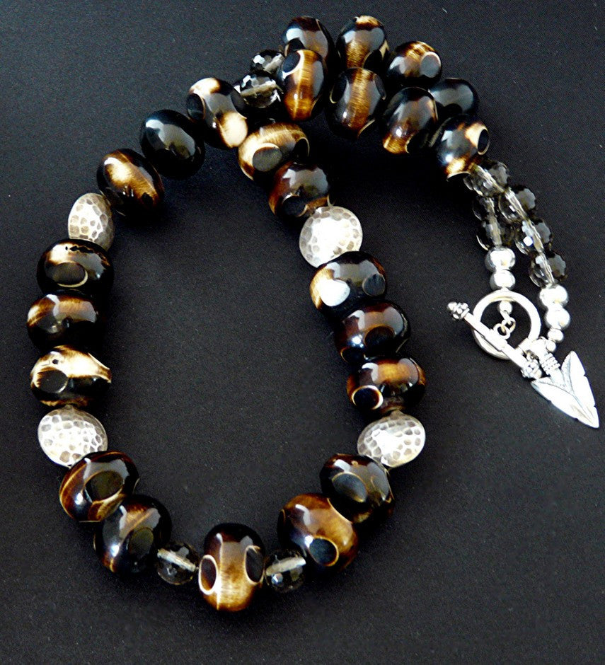 Hand-Painted Tortoise Horn Bead Necklace with Smoky Quartz & Sterling