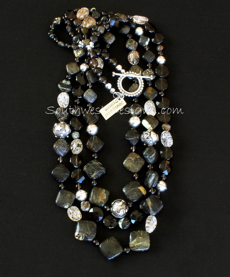 Tortoise Turquoise Diamonds 3-Strand Necklace with Crackled Quartz, Smoky Quartz and Sterling Silver