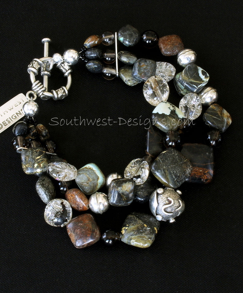 Tortoise Turquoise Diamonds 3-Strand Bracelet with Crackled Quartz, Smoky Quartz and Sterling Silver