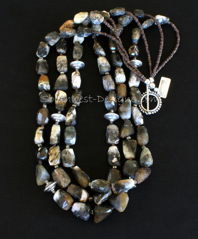 Tumbled Jasper 3-Strand Necklace with Pyrite, Olive Shell Heishi and Sterling Silver