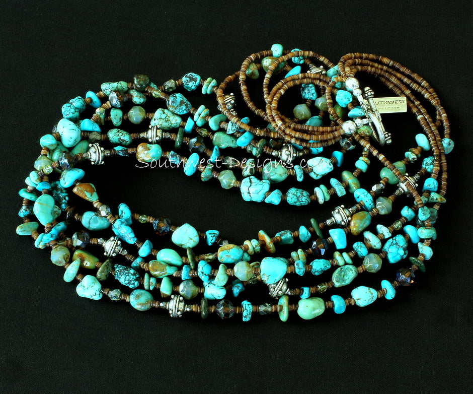 Mixed Turquoise Nugget 5-Strand Necklace with Shell Heishi and Sterling Silver