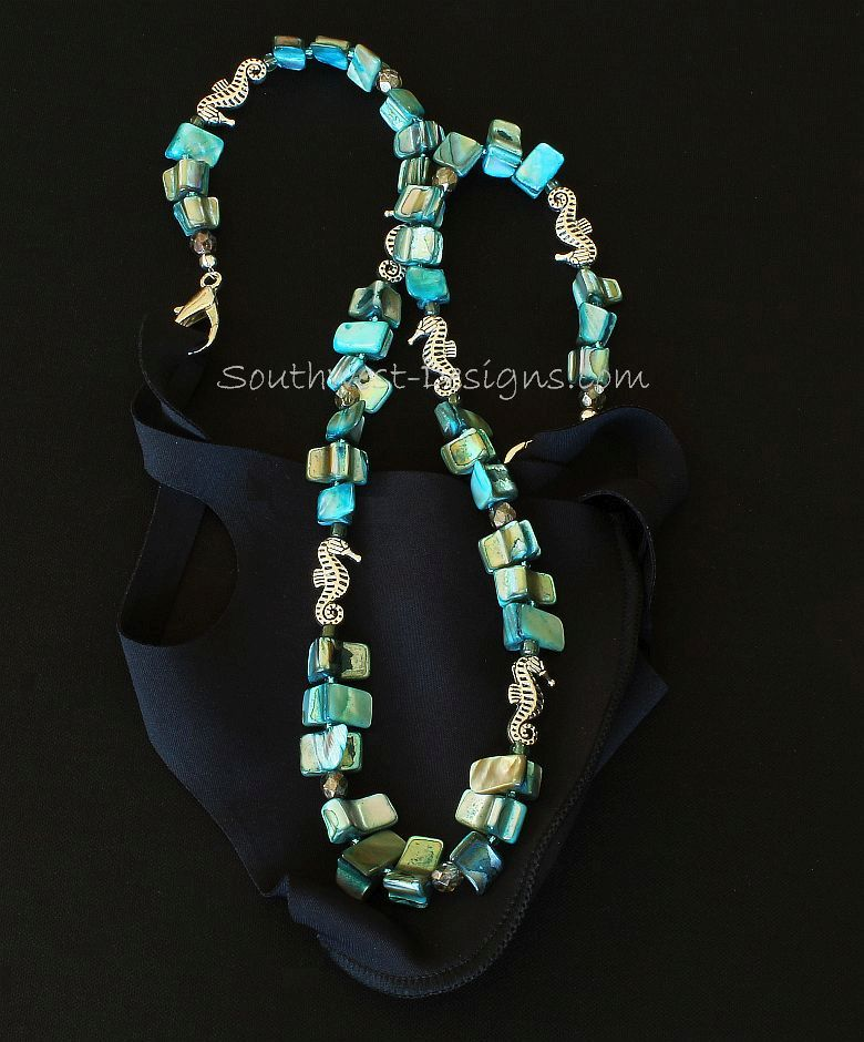 Turquoise Abalone Mask Lanyard with Fire Polished Glass and Silver Seahorse Charms
