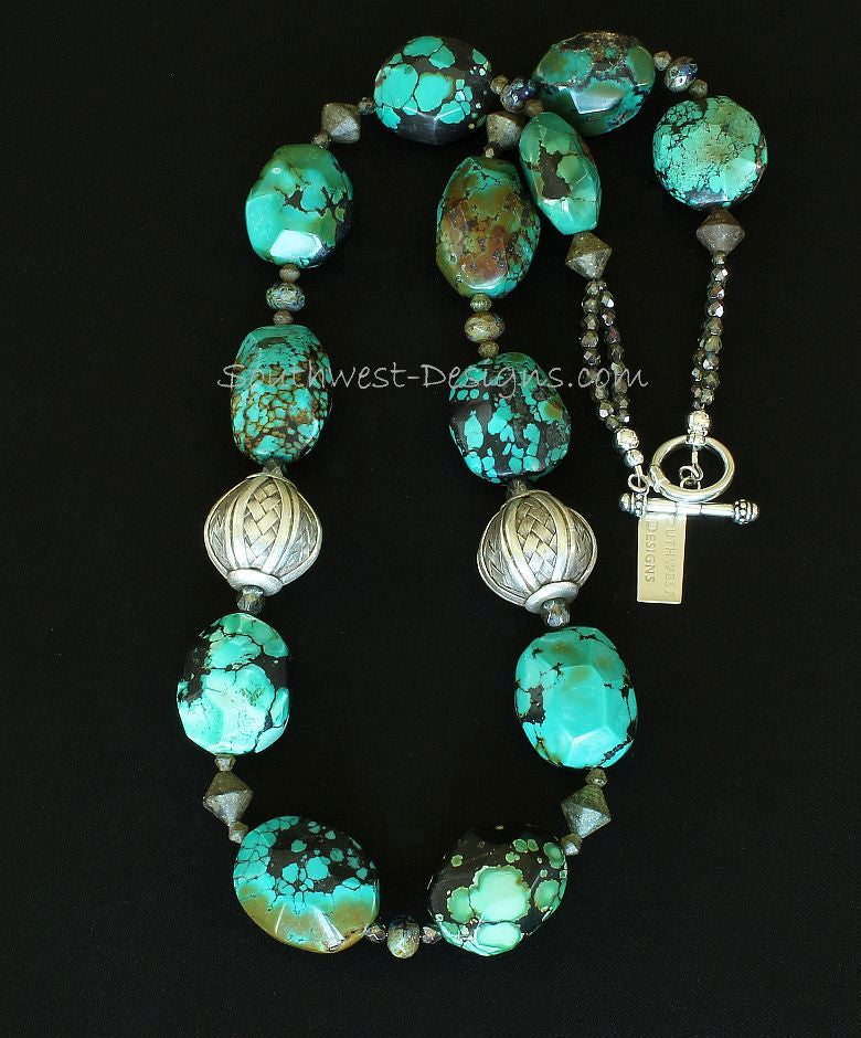 Turquoise Faceted Oval Necklace with Turkish Glass Bicones and Sterling Silver Woven Rounds & Toggle Clasp