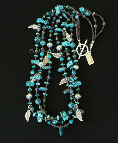 3-Strand Turquoise Talisman, Rounds and Briolette Necklace with Olive Shell & Turquoise Heishi, Blue Crystal Rounds, Fire Polished Glass, Sterling Silver Leaf Charms, and Jan Mariano Sterling Silver Rondelle Beads & Hammered Sterling Toggle Clasp
