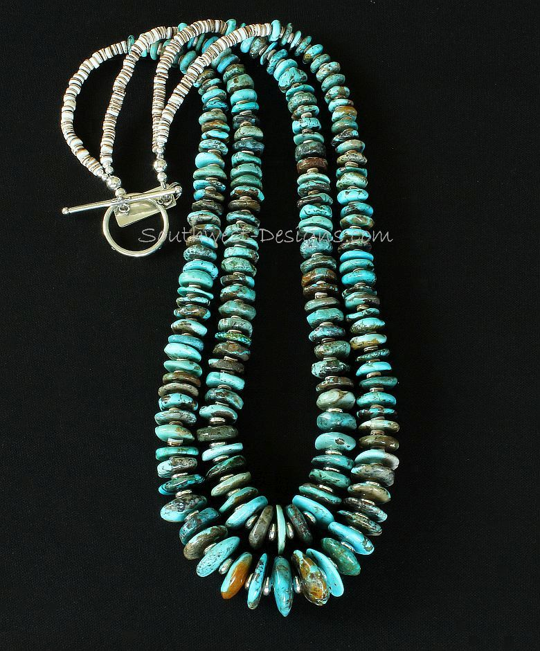 Turquoise Round Disc 2-Strand Necklace with Olive Shell Heishi and Sterling Silver