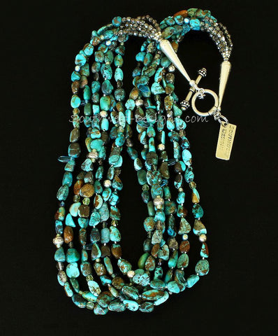 Turquoise Nugget 6-Strand Necklace with Czech Fire Polished Glass, Blue Crystal Daggers, Sterling Silver Rounds & Rondelles, and Sterling Cones & Toggle Clasp