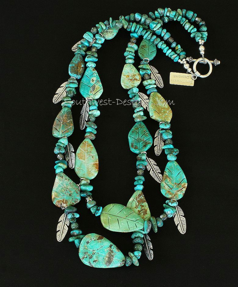 Turquoise Nugget & Leaves 2-Strand Necklace with Rutilated Quartz and Silver Feather Charms