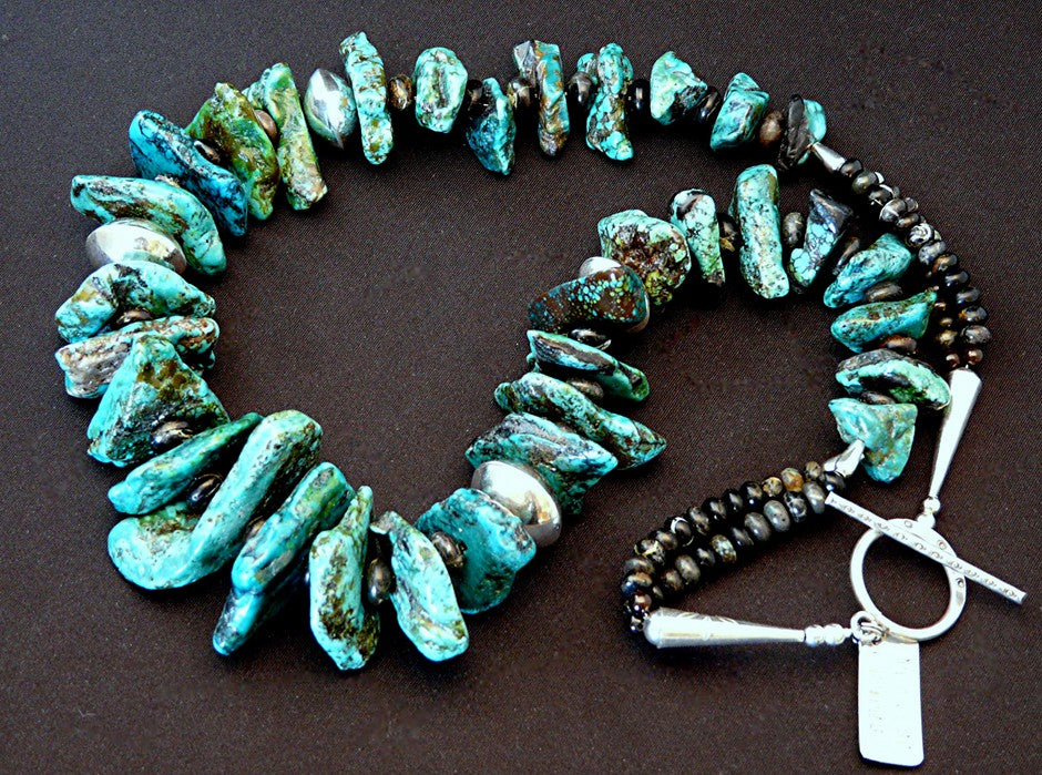 Turquoise Graduated Large Nugget Necklace with Sterling
