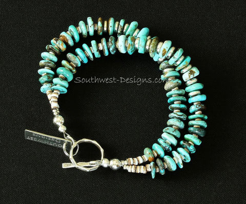 Turquoise Round Disc 2-Strand Bracelet with Sterling Silver
