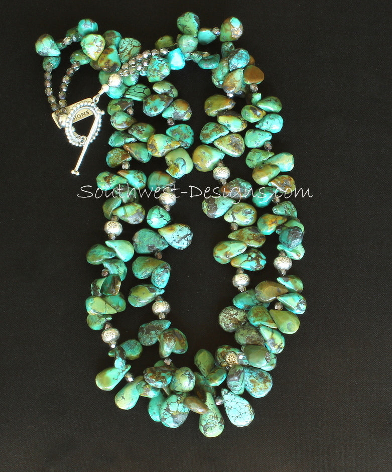 Nevada Turquoise 2-Strand Petal Necklace with Fire Polished Glass and Sterling Silver