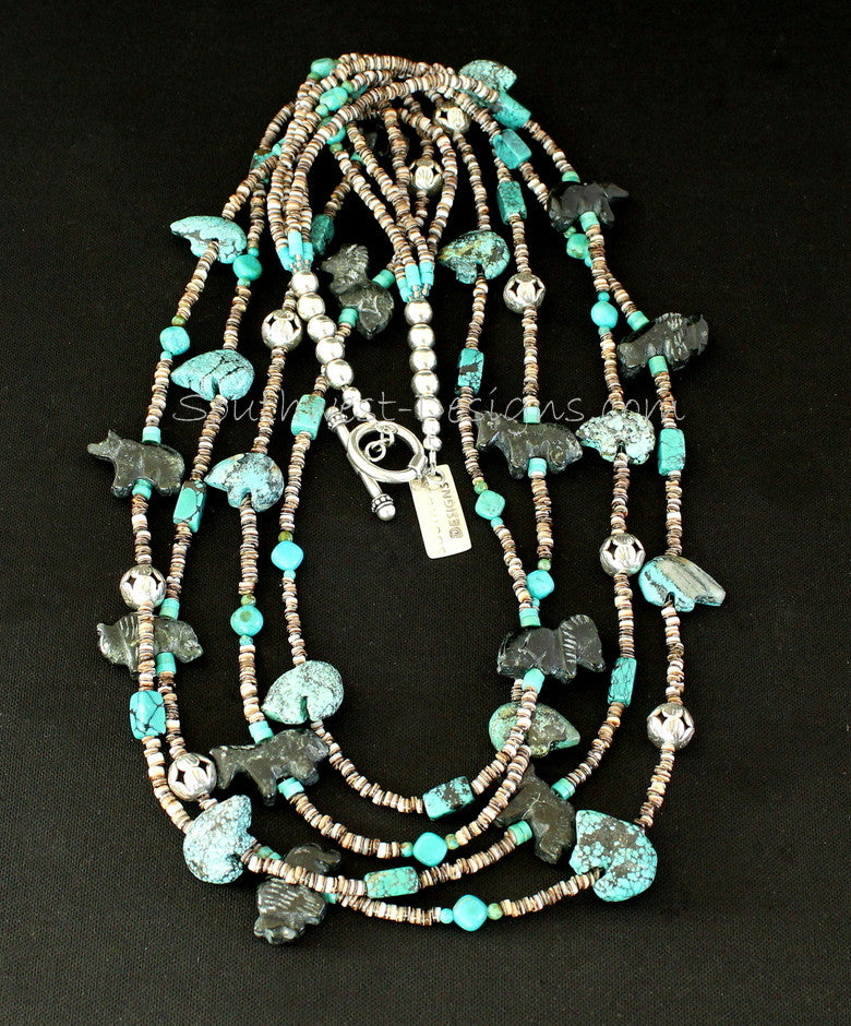4-Strand Turquoise and Black Horn Bead Fetish Necklace with Olive Shell Heishi and Sterling Silver