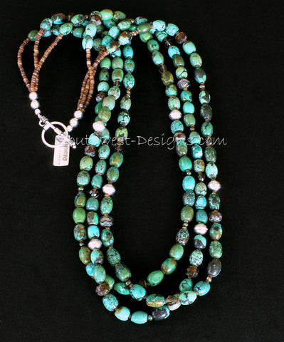 Turquoise Barrel Bead 3-Strand Necklace with Czech Luster Glass, Olive-Green Pearls and Sterling Silver