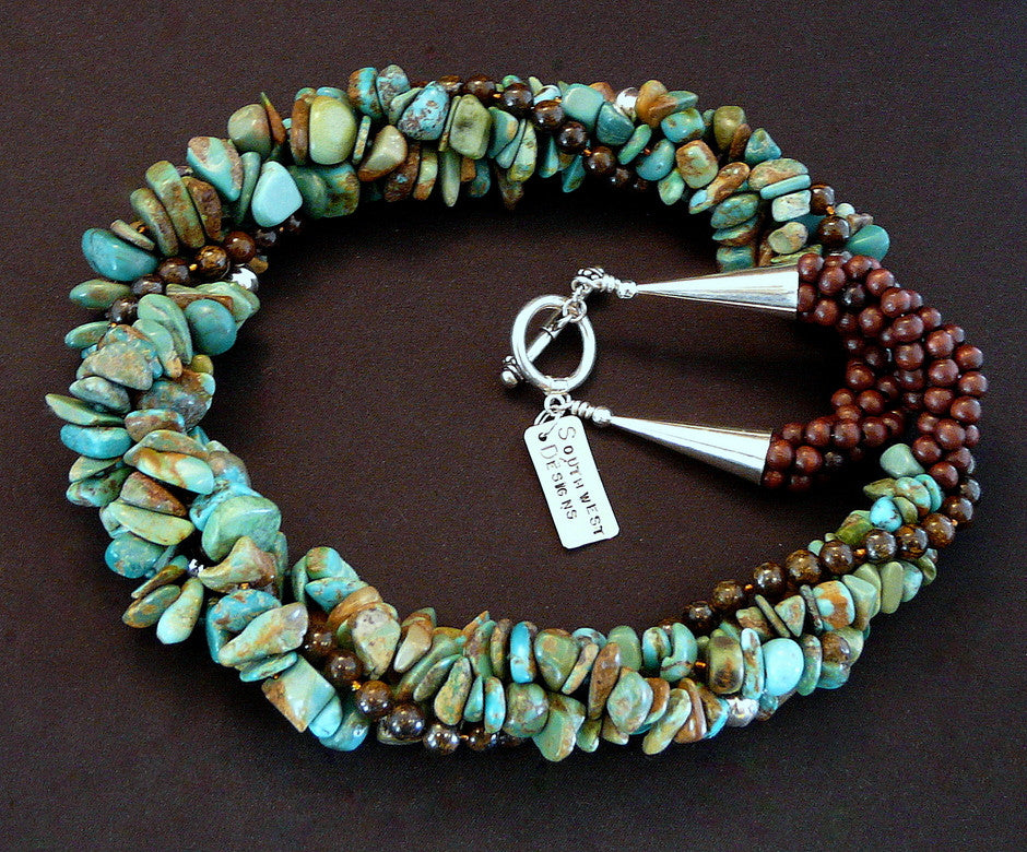 Turquoise, Bronzite and Sterling Silver Twist Necklace