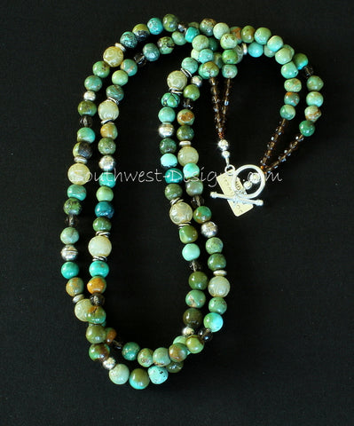 Turquoise and Carved Jade 2-Strand Necklace with Faceted Glass and Sterling Silver