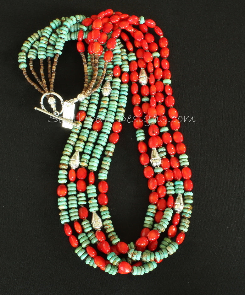 Turquoise and Coral 5-Strand Blended Necklace with Olive Shell Heishi and Sterling Silver