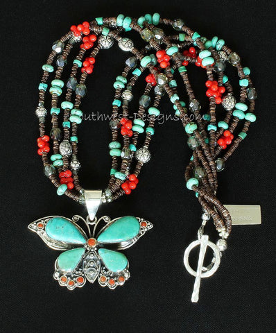 Turquoise, Coral and Sterling Silver Butterfly Pendant with Olive Shell Heishi, Turquoise and Sterling