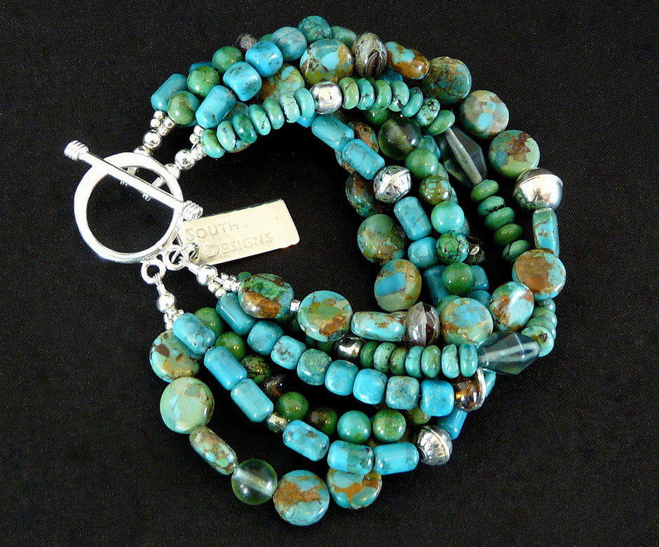 6-Strand Turquoise and Czech Glass Bracelet with Sterling Silver