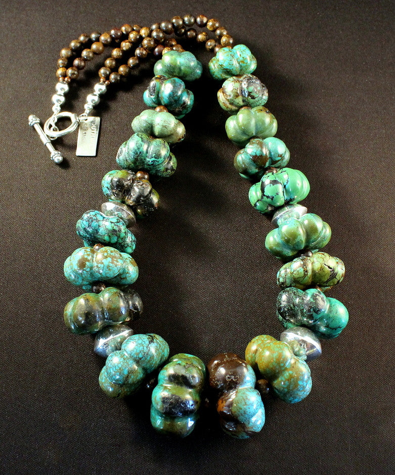 Turquoise Flower Bead Necklace with Sterling Silver