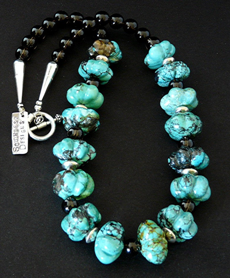 Carved Turquoise Flower Bead Necklace with Smoky Quartz & Sterling