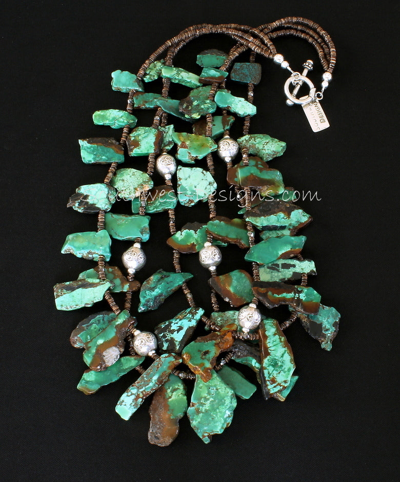 Turquoise Fragment Stone 3-Strand Necklace with Fire Polished Glass, Olive Shell Heishi and Ornate Sterling Silver