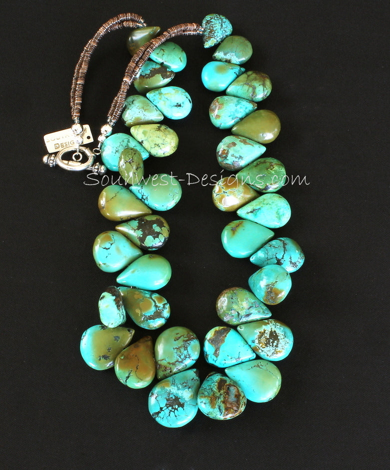 Turquoise Graduated Petal Necklace with Olive Shell Heishi and Sterling Silver