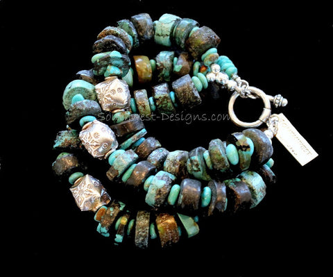 Turquoise Heishi 3-Strand Bracelet with Kingman Turquoise Nuggets and Ornate Sterling Silver