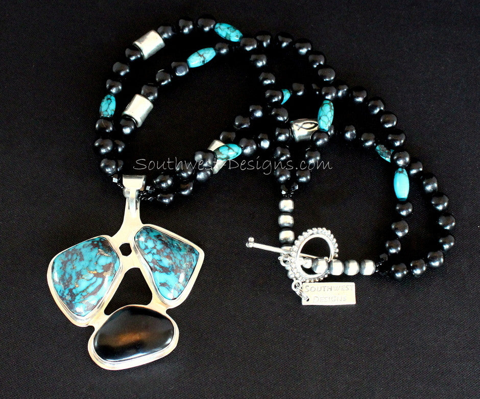 3-Stone Turquoise, Indonesian Palm Wood and Sterling Silver Pendant with 2 Strands of New Mexico Black Jet, Turquoise Barrel Beads and Sterling Silver