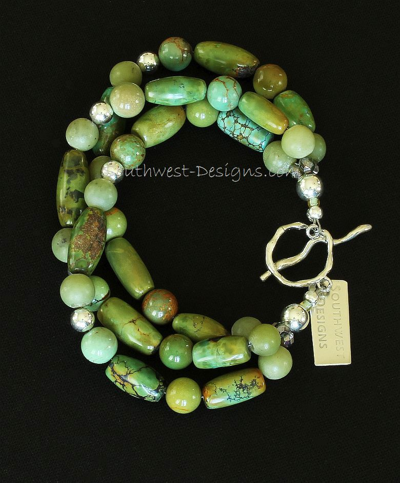 Turquoise & Jade 3-Strand Bracelet with Sterling Silver