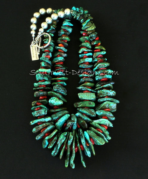 Very long southwestern style hand tied turquoise chip necklace