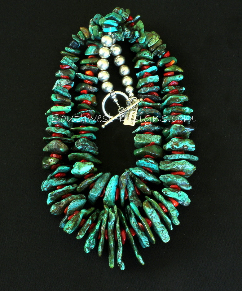 Turquoise Large Nugget 2-Strand Necklace with Coral and Sterling Silver