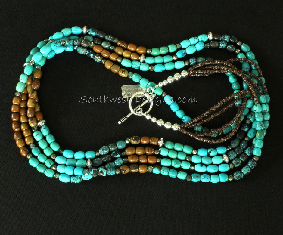 Turquoise Multi-Hued 4-Strand Necklace with Sterling Silver Rondelles, Pyrite Nuggets, Olive Shell Heishi and Sterling Silver Toggle Clasp