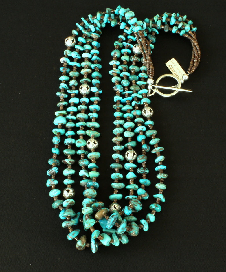 Nevada Turquoise Nugget 4-Strand Necklace with Olive Shell Heishi & Sterling Silver