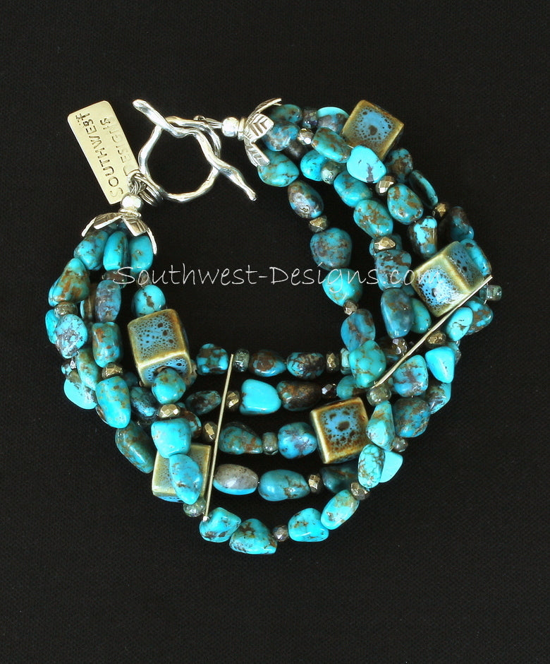 Turquoise Nugget 5-Strand Bracelet with Porcelain Cubes, Fire Polished & Indonesian Glass, and Ornate Sterling Silver