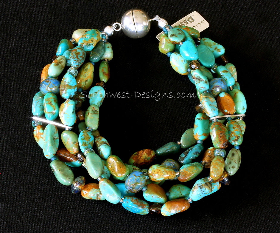 Turquoise Nugget 5-Strand Bracelet with Czechoslovakian Glass and Sterling Silver Magnet Clasp