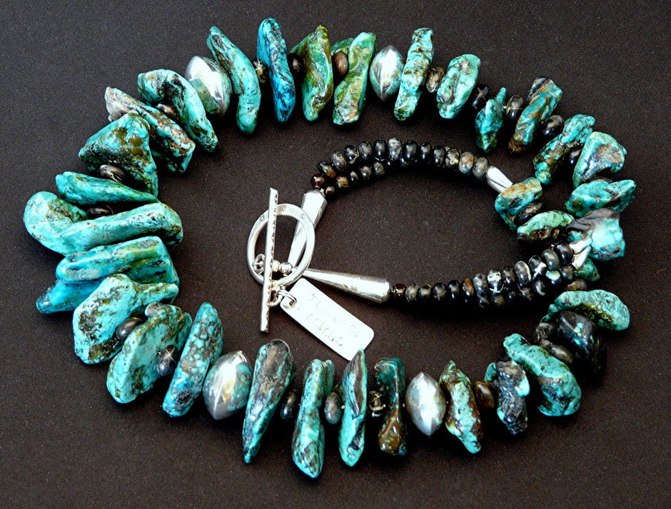 Turquoise Graduated Large Nugget Necklace with Tortoise Turquoise Rondelles & Sterling Silver