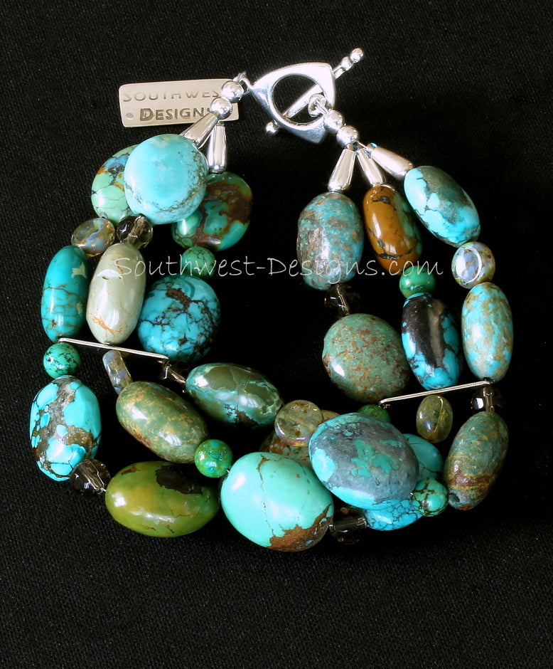 Turquoise Round Oval 3-Strand Bracelet with Turquoise Rounds, Czech Glass Coin Beads and Sterling Silver
