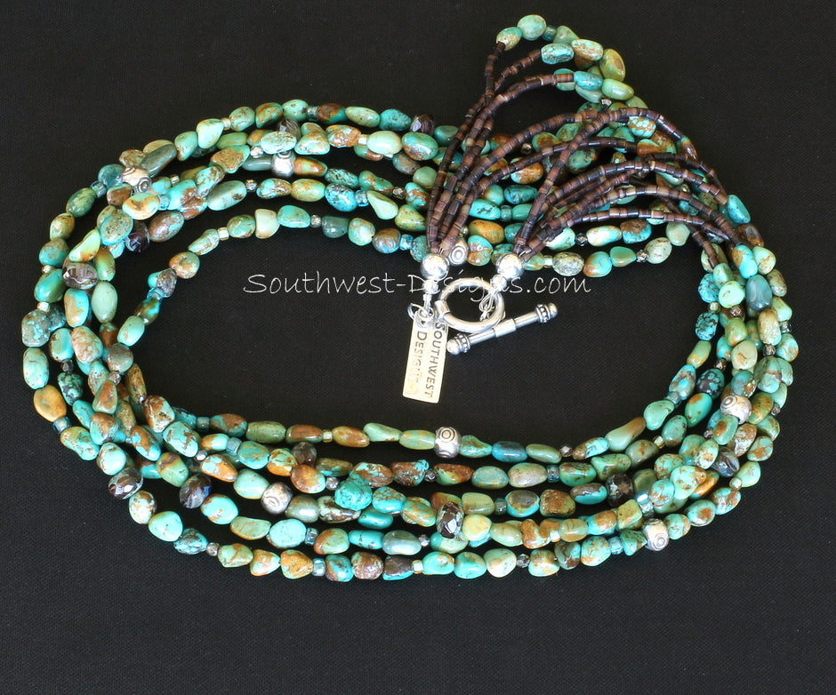 Turquoise Nugget 6-Strand Necklace with Czech Glass, Fire Polished Glass, Pen Shell Heishi and Sterling Silver