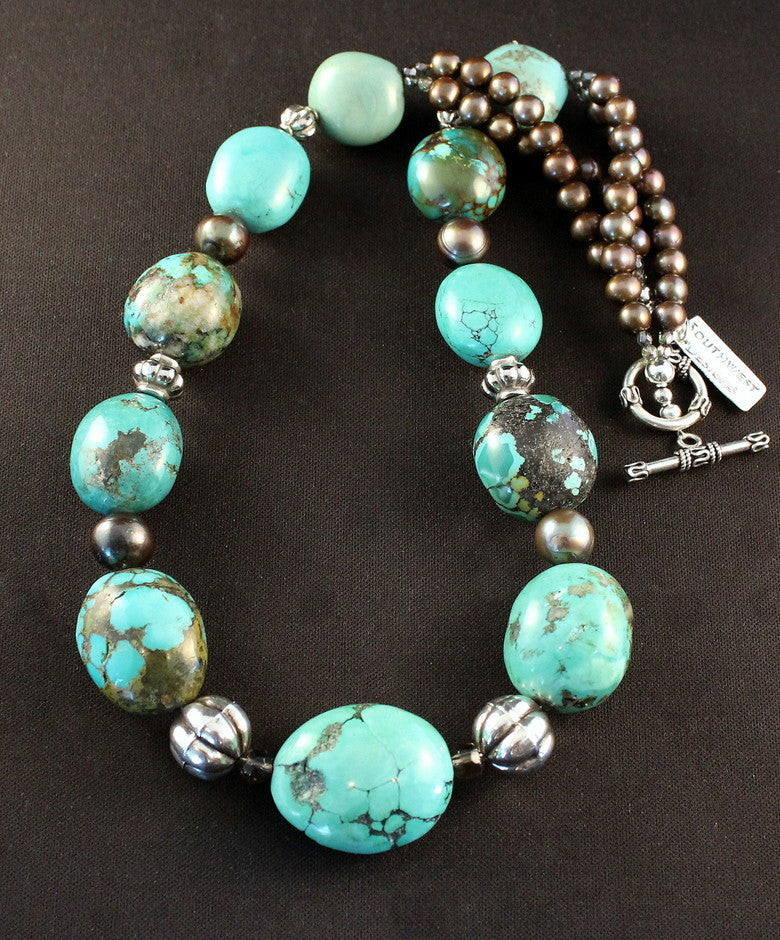 Turquoise Graduated Oval Bead Necklace with Bronze Pearls and Sterling Silver