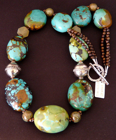 Turquoise Large Oval Necklace with Porcelain, Jade & Sterling Silver